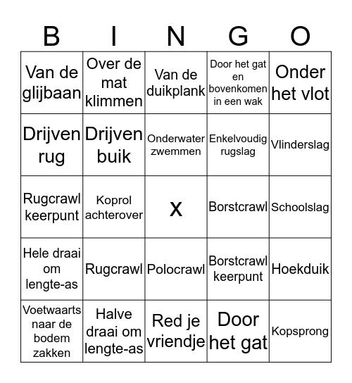 KD zwemmen Bingo Card