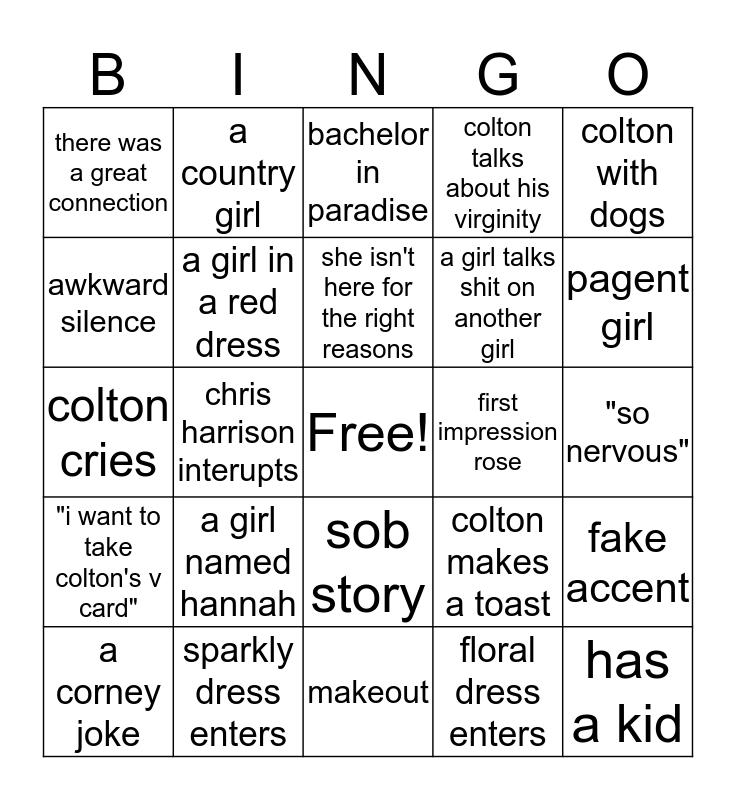 Bachelor Bingo Card