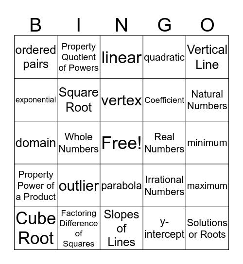 Algebra 1 Bingo Card
