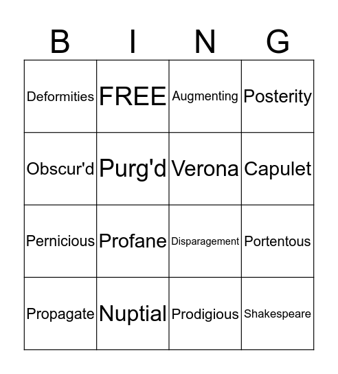 Romeo and Juliet - Act One Vocab Bingo Card