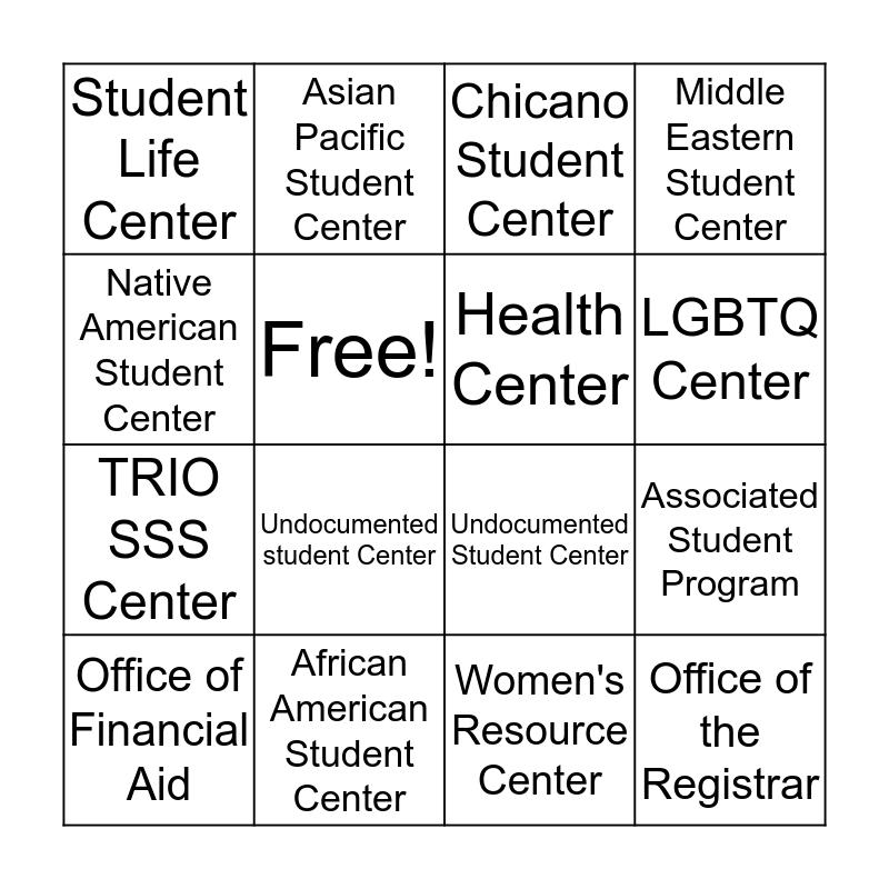 UCR Bingo Center  Bingo Card