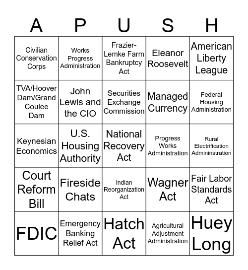 Ch.34 Great Depression and the New Deal Bingo Card