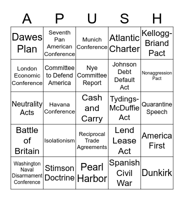 Ch.35 FDR and the Shadow of War Bingo Card
