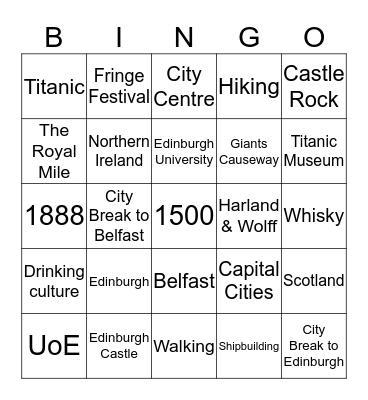 Edinburgh & Belfast Bingo Card