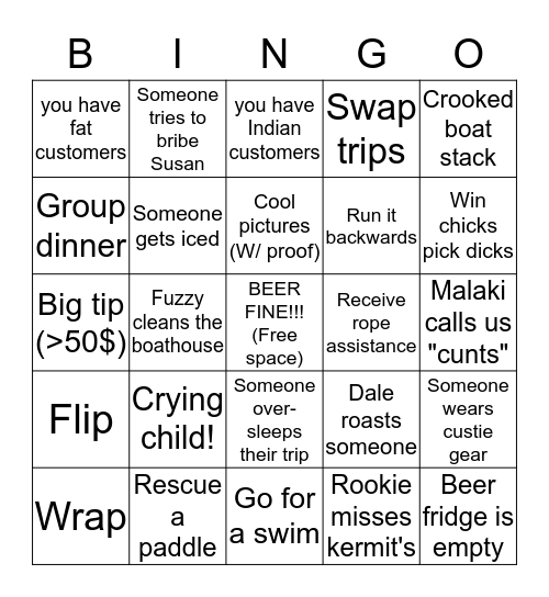 Boathouse bingo Card