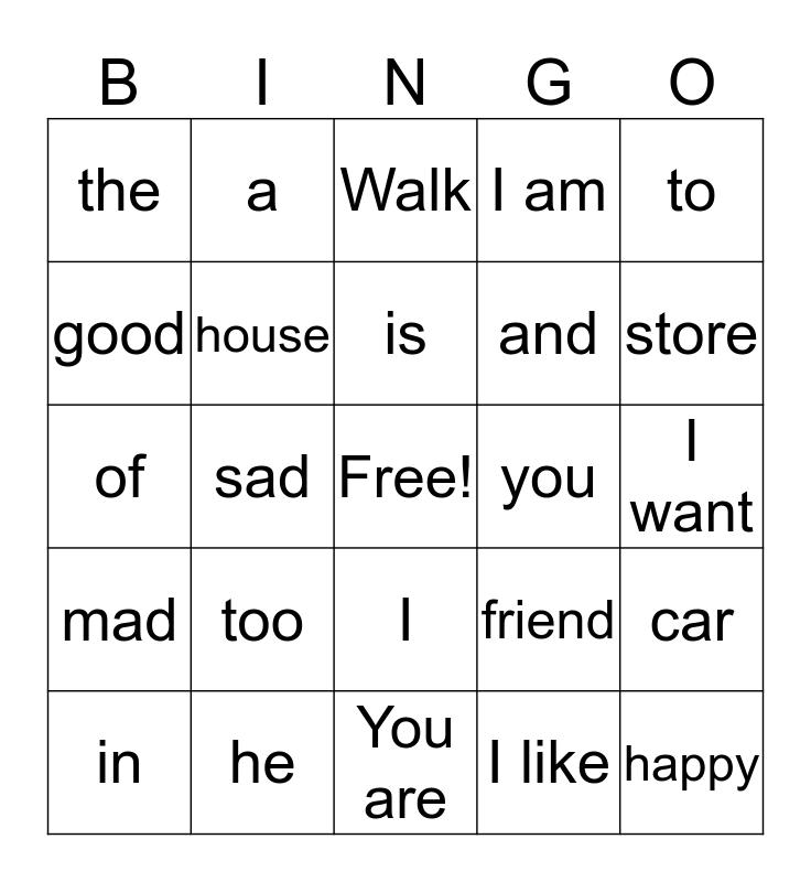 Frecuentes Palabras Bingo Card
