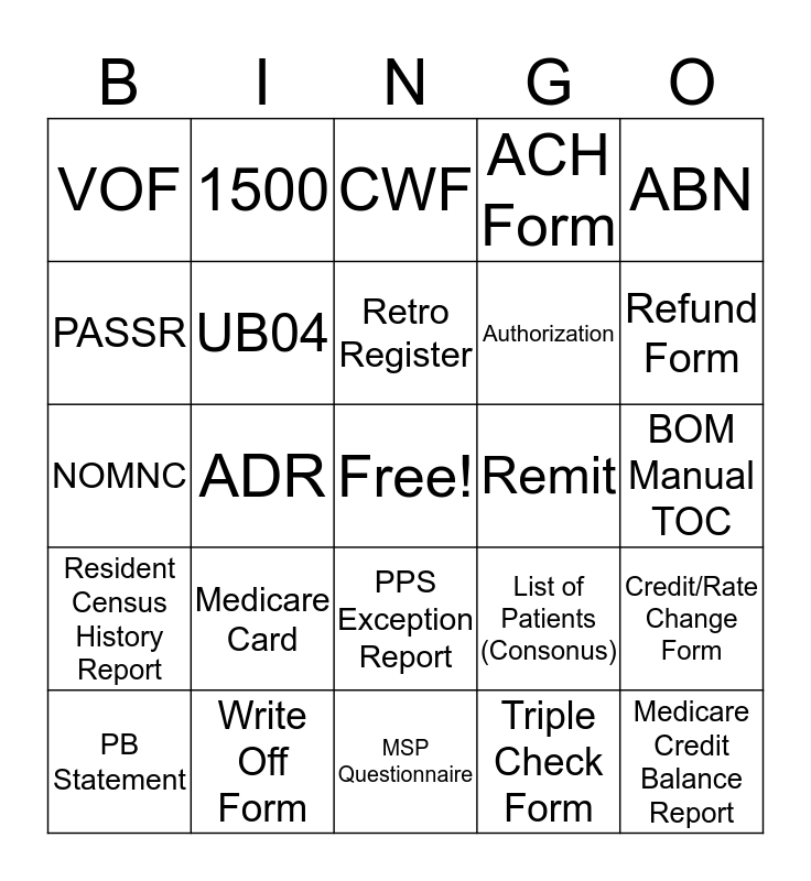 Billing Bingo Card