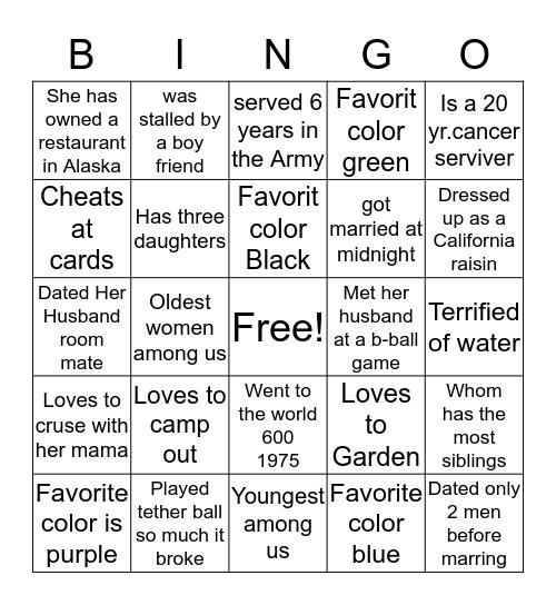 W O W  Bingo Card
