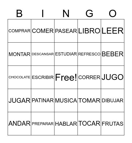 Verbos - pasatiempos - Sra. Silva Bingo Card