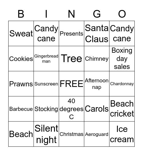 Australian Christmas Bingo Card