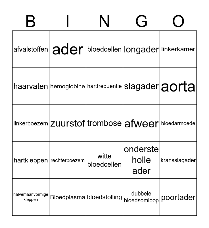 Bloedsomloop Bingo Card