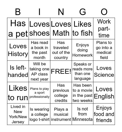 New Student Bingo Card