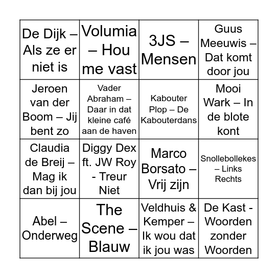 Disco Bingo - Nederlandstalig Bingo Card