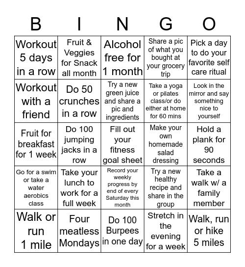 Regina's Journae to 50 Health & Wellness Challenge Bingo Card