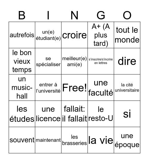 Unite 4 Vocabulary Rev 1 Bingo Card