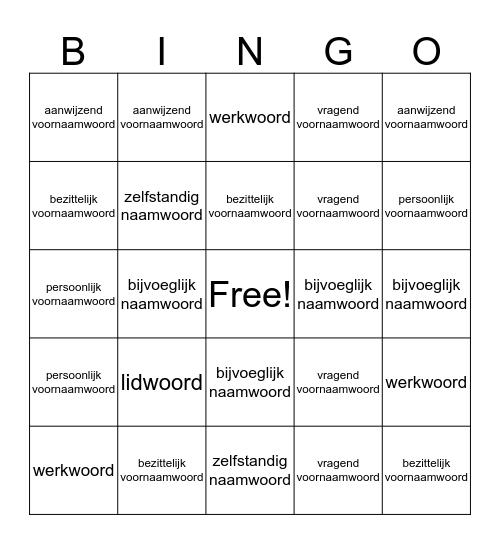 Woordsoorten bingo Card