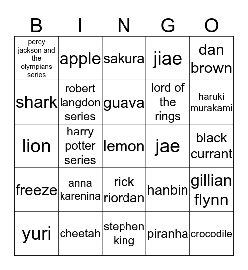 gowon's board Bingo Card