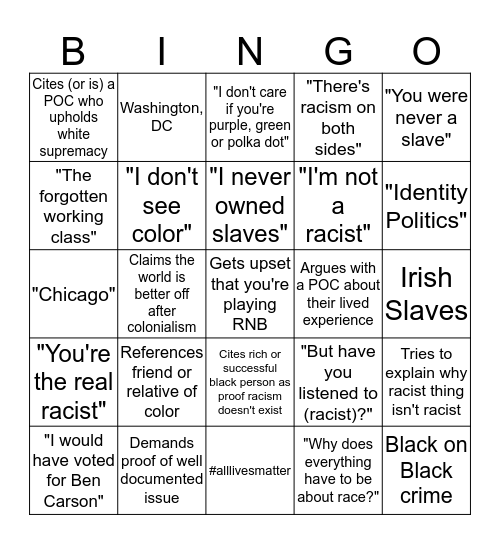 Racist Nonsense BINGO  Bingo Card