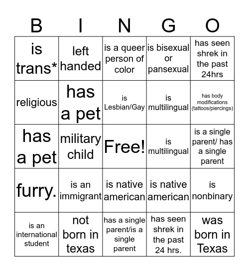 PRIDE Bingo! Bingo Card