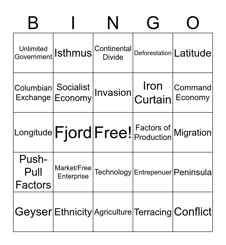 World Cultures Bingo Card