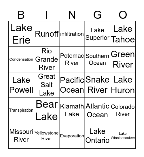 Lakes, Rivers, Oceans and the Water Cycle Bingo Card