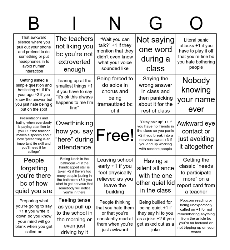 Social Anxiety in School Bingo Card