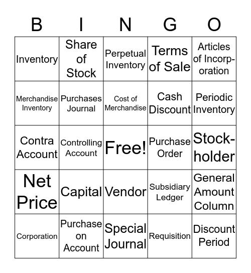 Accounting Ch. 9 Bingo Card