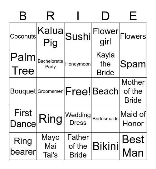 Kayla's Hawaiian Bridal Shower Bingo Card