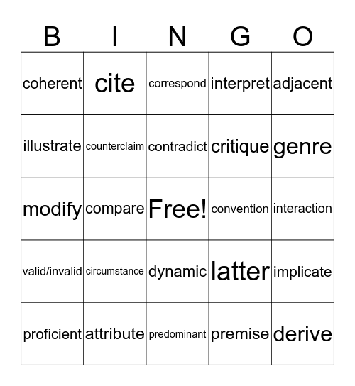 Wildcat Word Bingo Card