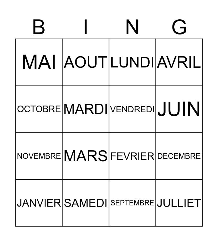 LES JOURS ET MOIS Bingo Card