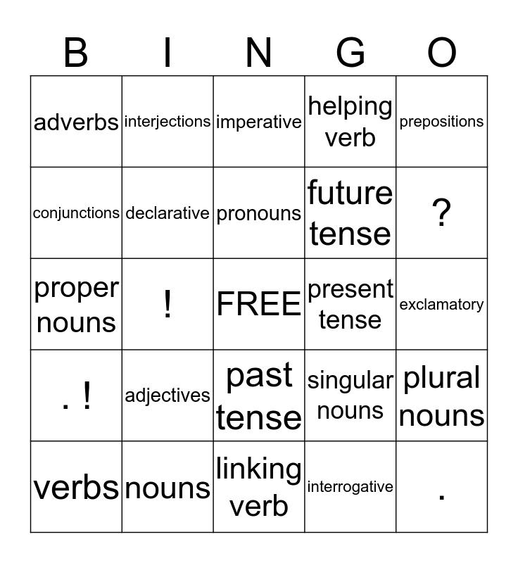 Grammar/Language Bingo Card