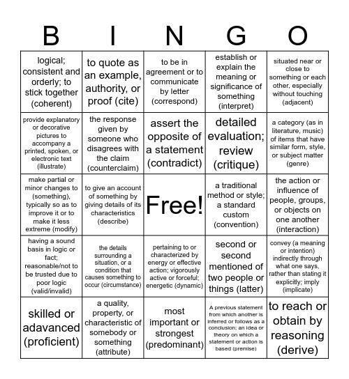Wildcat Word Cornhole 1 Bingo Card