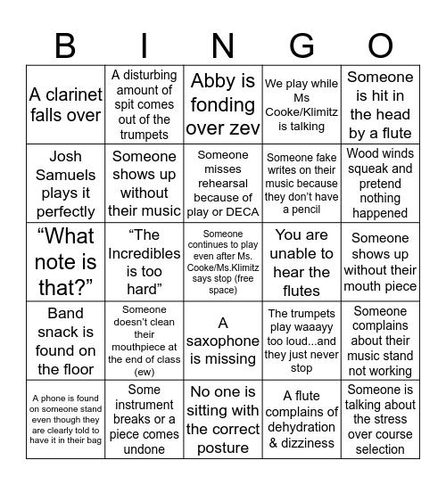 Band BINGO!!! Bingo Card