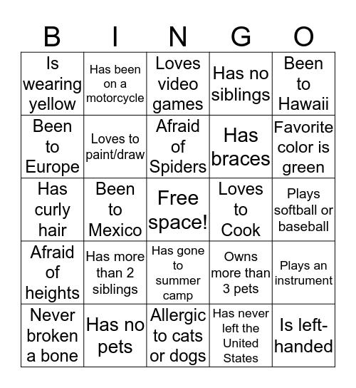 Meet and Greet Bingo Card