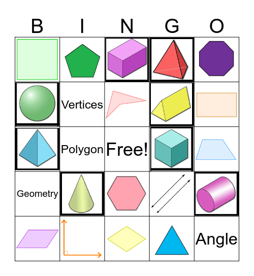 3rd Grade Geometry Review Bingo Card