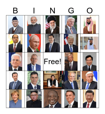 Heads of State Bingo Card
