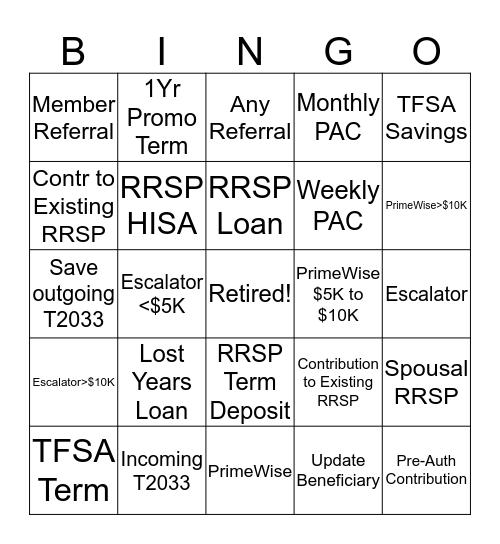 RRSP Bingo Card