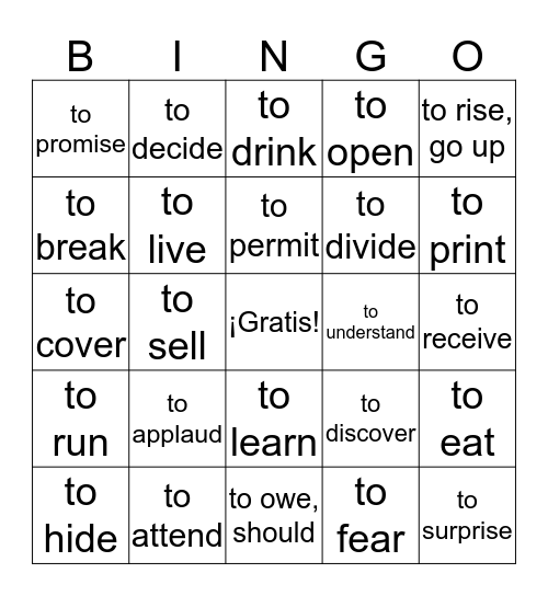 -ER/-IR Verbs Bingo Card