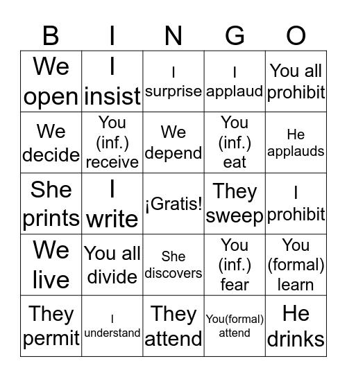 -ER/-IR Verb Conjugations Bingo Card