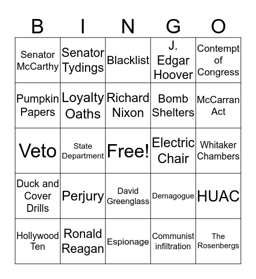 The Red Sxare Bingo Card
