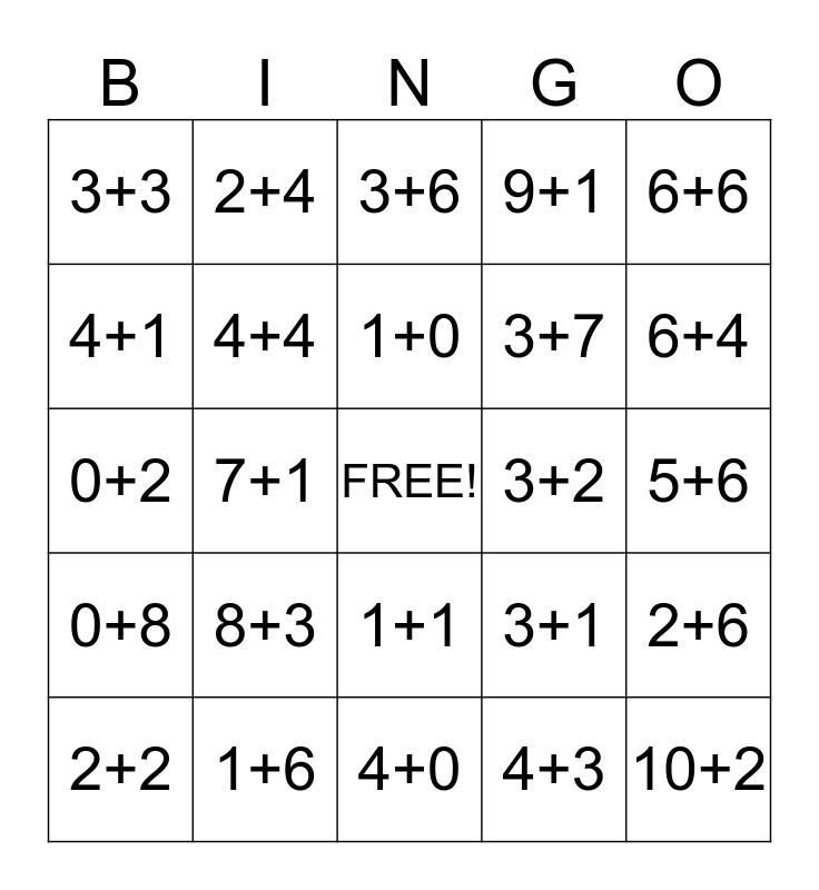 Addition Bingo Card