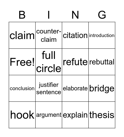 Argumentatitve Essay Bingo Card