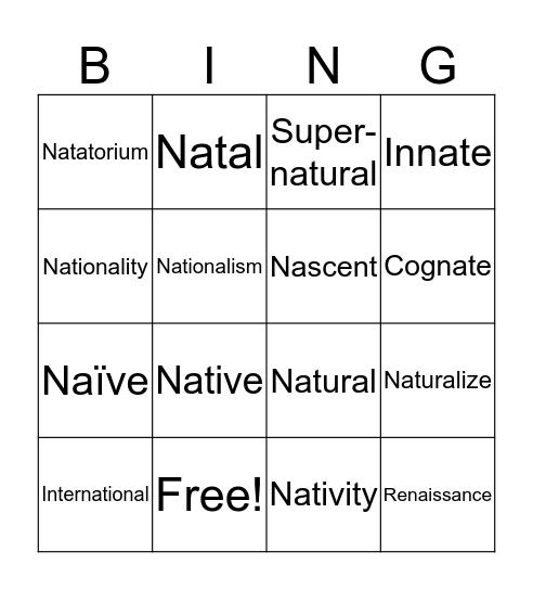 Nat, Nasc Bingo Card