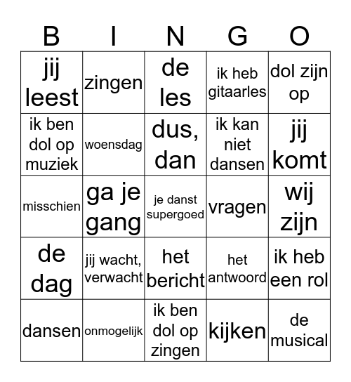 G1 - App 1 tm 4 - Unite 3 (N-F) Bingo Card