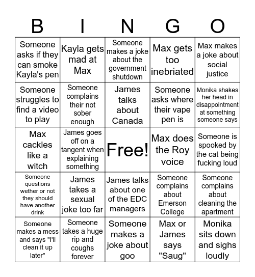 Apt Bingo Card