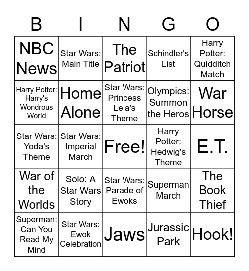 Composer John Williams Bingo Card