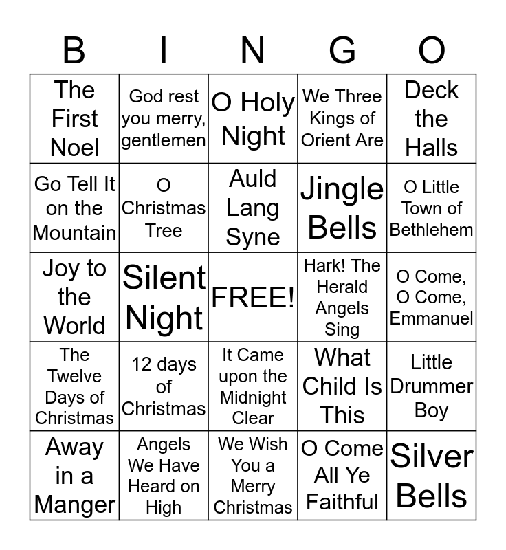 Christmas Carol Bingo Card