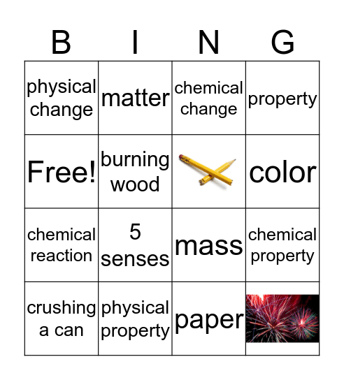 Chemical and Physical Changes Bingo Card