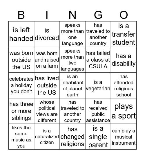 Find a person who... Bingo Card