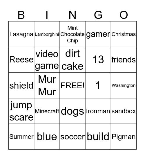 Mindcraft Bingo Card